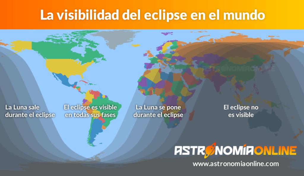 Visibilidad mundial del eclipse total de Luna del 21 de enero de 2019