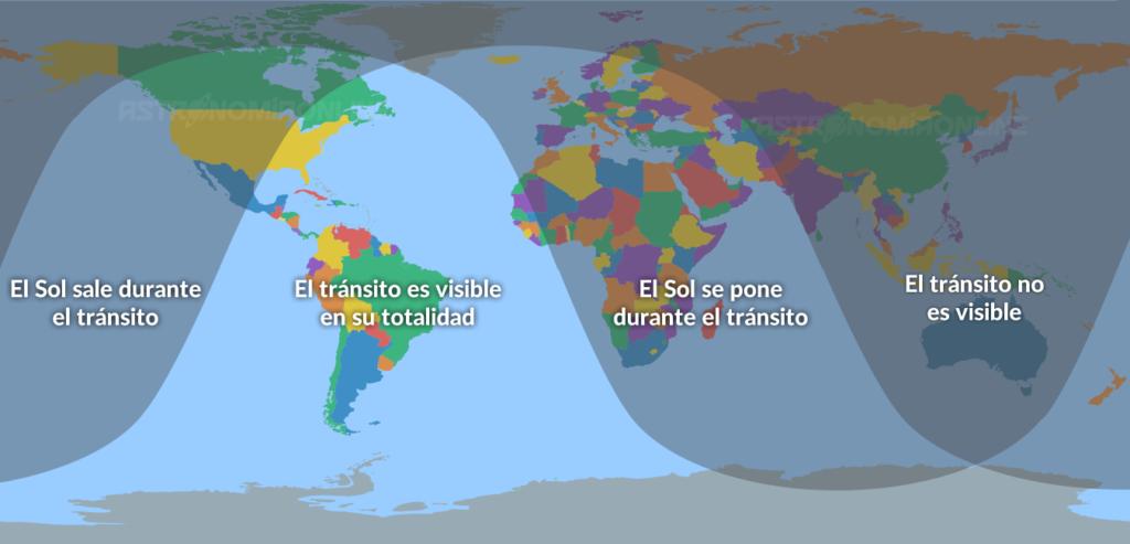Visibilidad del tránsito de Mercurio del 11 de noviembre de 2019
